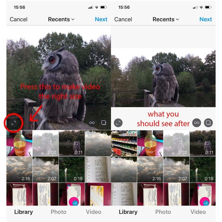 Pick the right size 768x768 - How to upload videos to Instagram
